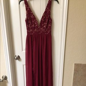 Lulus exquisite maroon burgundy sheer and lace